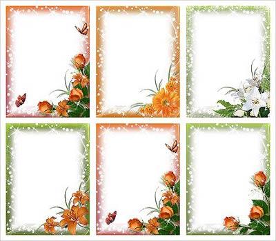 Рамки для фотошоп цветочный блеск